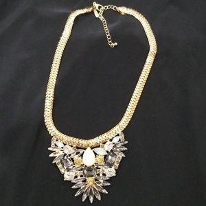 Rhinestones bib style necklace